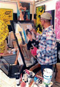 Mr. Twymon in his studio